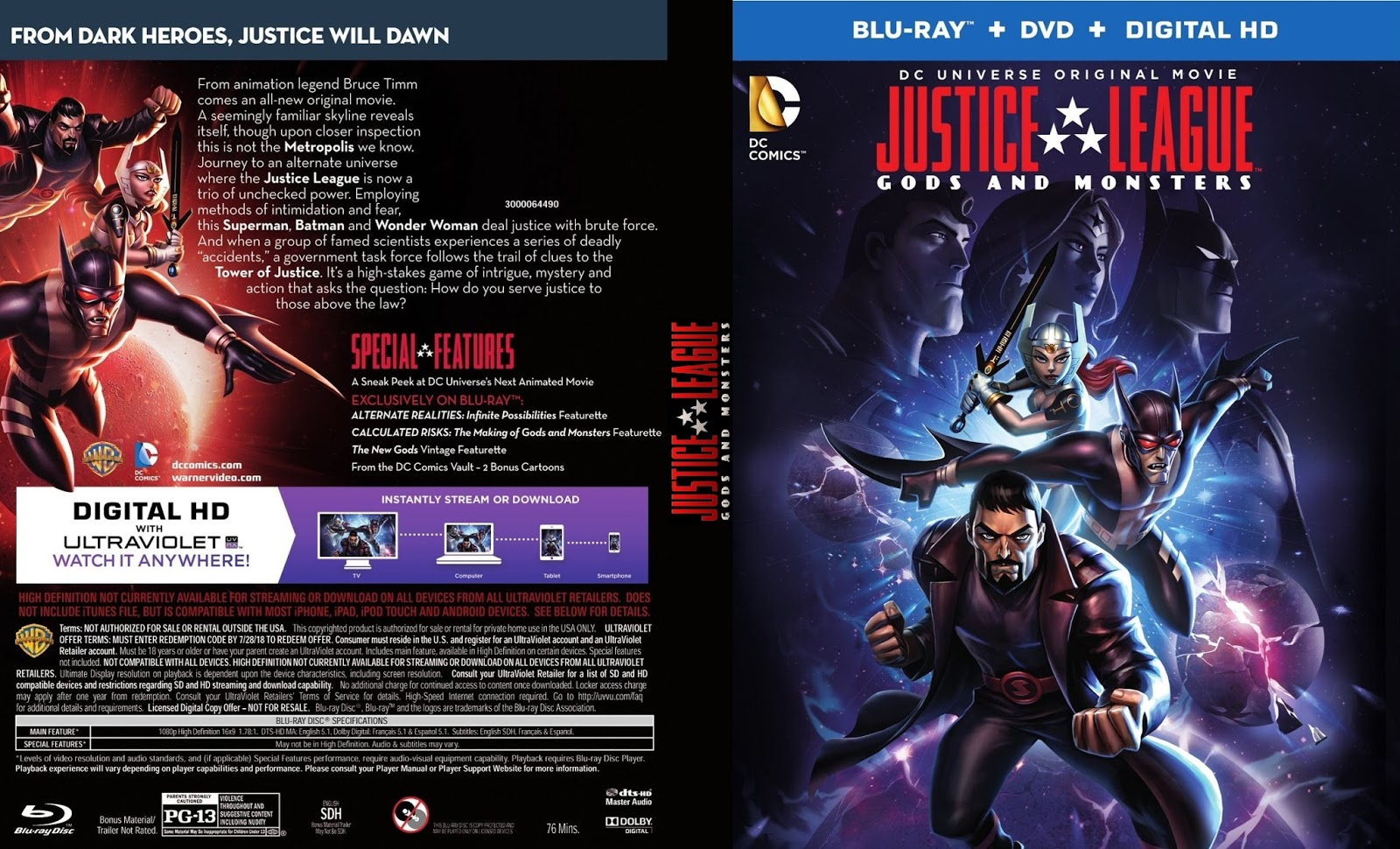 Justice League Gods and Monsters Bluray